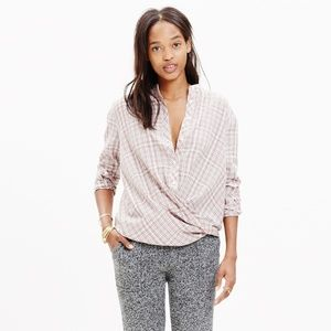 Madewell Draped Long Sleeve Popover Blouse XS